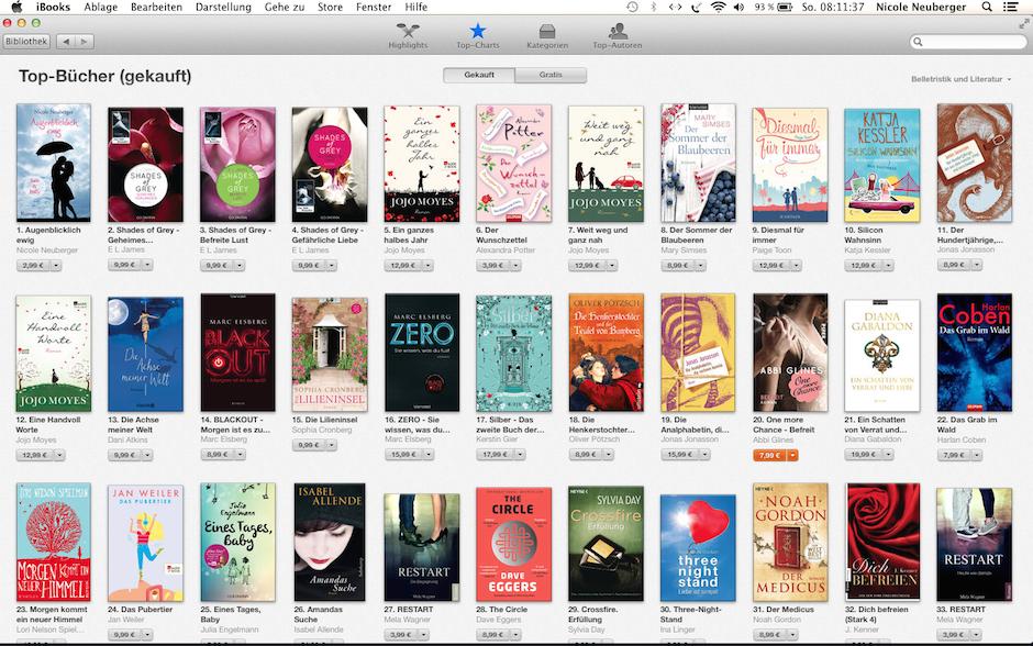 Augenblicklich ewig Platz 1 iTunes Charts ©Screenshot iBooks