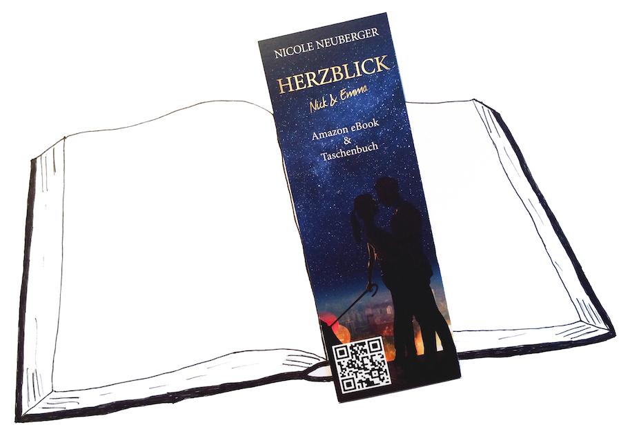 Zeichnung, Taschenbuch, Lesezeichen, Herzblick, Nicole Neuberger