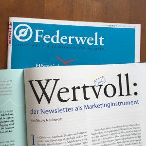 Federwelt Newsletter als Marketinginstrument ©Nicole Neuberger