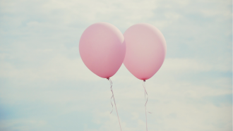Paar, Baloons, verliebt, Himmel
