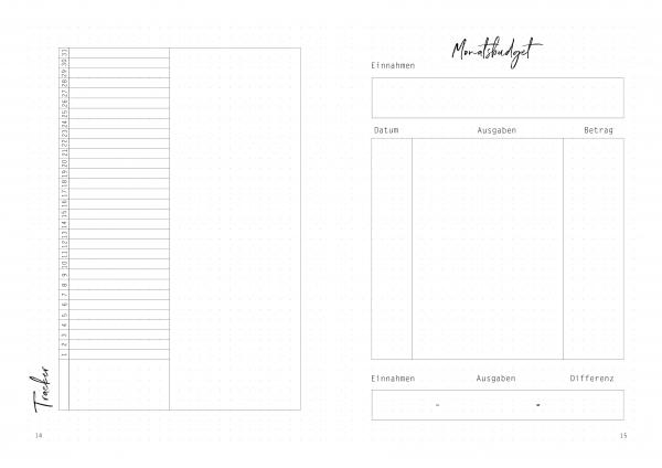 Habit Tracker, Monatsbudget, Bujo, Bullet Journal